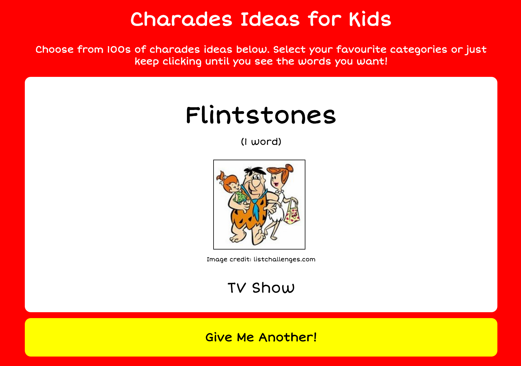 The Flintstones love a good game of family charades!